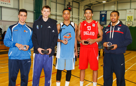 Haris Tournament All-Star 5 2013 - Damia Paez (CB Cornella), Keno Pape (Baskets Akademie Weser - EMS), Pharroh Gordon (Magic U18), Deane Williams (England U18) and Dwayne Lautier-Ogunleye (England U18)