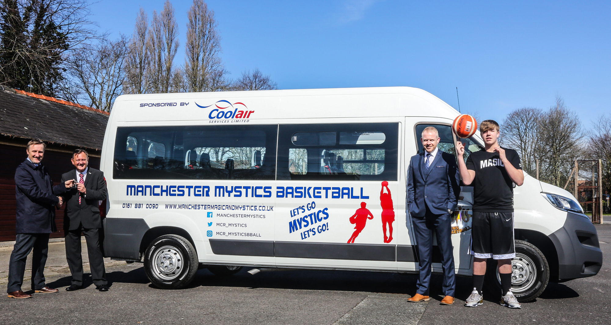 Phil Gordos, club chief executive, Andy Smith, Coolair Service Ltd's UK operations director, Ian Wilson, Coolair Service Ltd's regional operations manager, and Magic Under-16 player Ben Brocklehurst