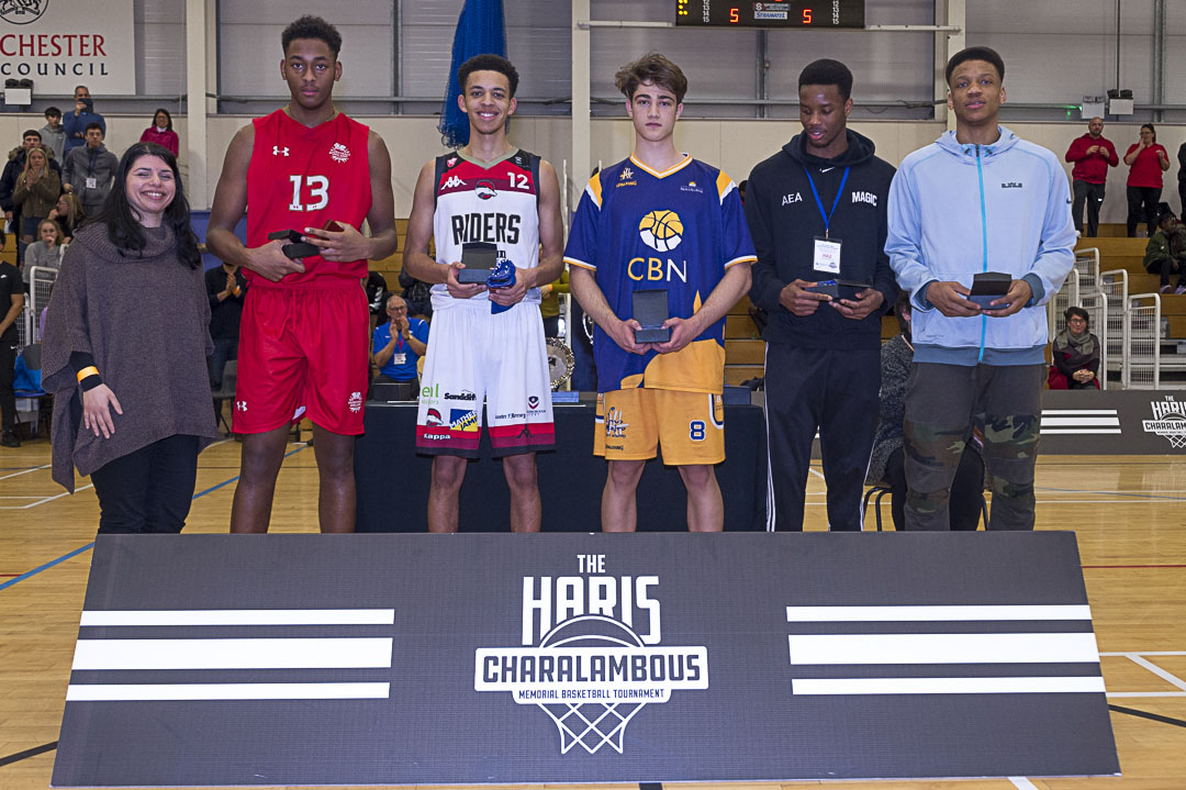 Haris Tournament 2017 All-Star 5: Michael Anumba - Magic U18, Arinze Emeka-Anyakwo - Magic U18, Alvaro Ortiz - Nova School, Niall Harris - Charnwood College Riders, Nathaniel Delany-Powell - England