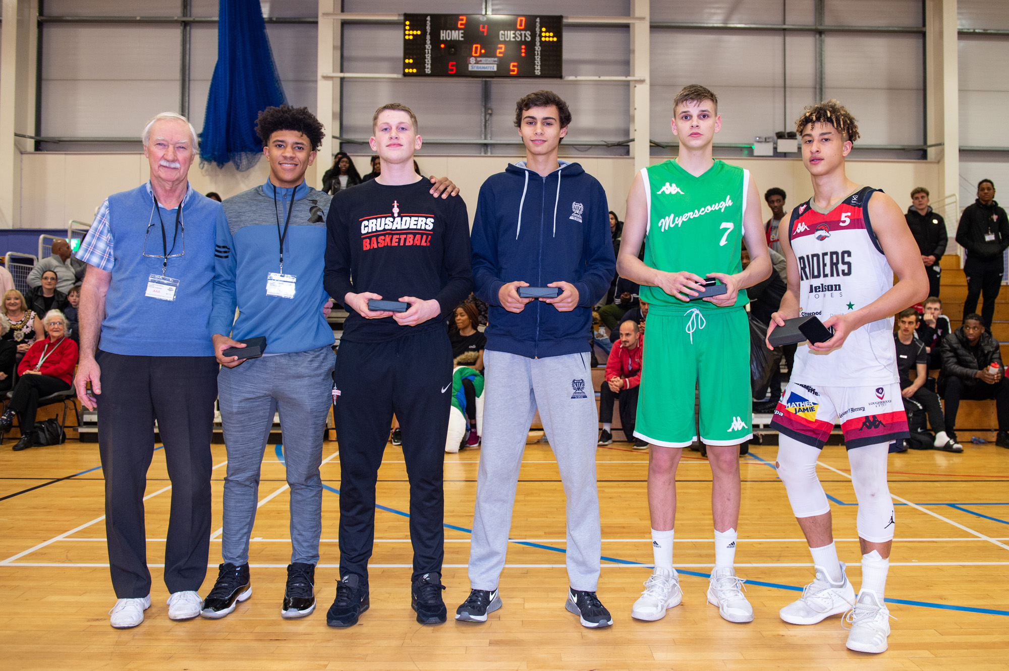 Haris tournament 2018 All-Star 5: Chester Morrell Kent Crusaders, Michael Gray Blue Ridge School, Miguel Barros CD Póvoa, Mate Okros Myerscough College, Blaize Sagna Charnwood College Riders