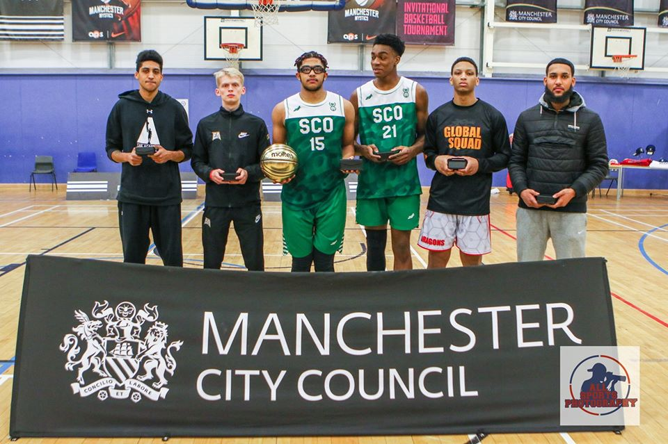 Haris Tournament 2019 All-Star 5:  Manchester Magic's Josh Grant, Myerscough College's Amari Williams, Canarias Basketball Academy's Zion Brown Alvarez, Global Squad's Angelo Santiago and Elite Academy's Max Gysbrechts