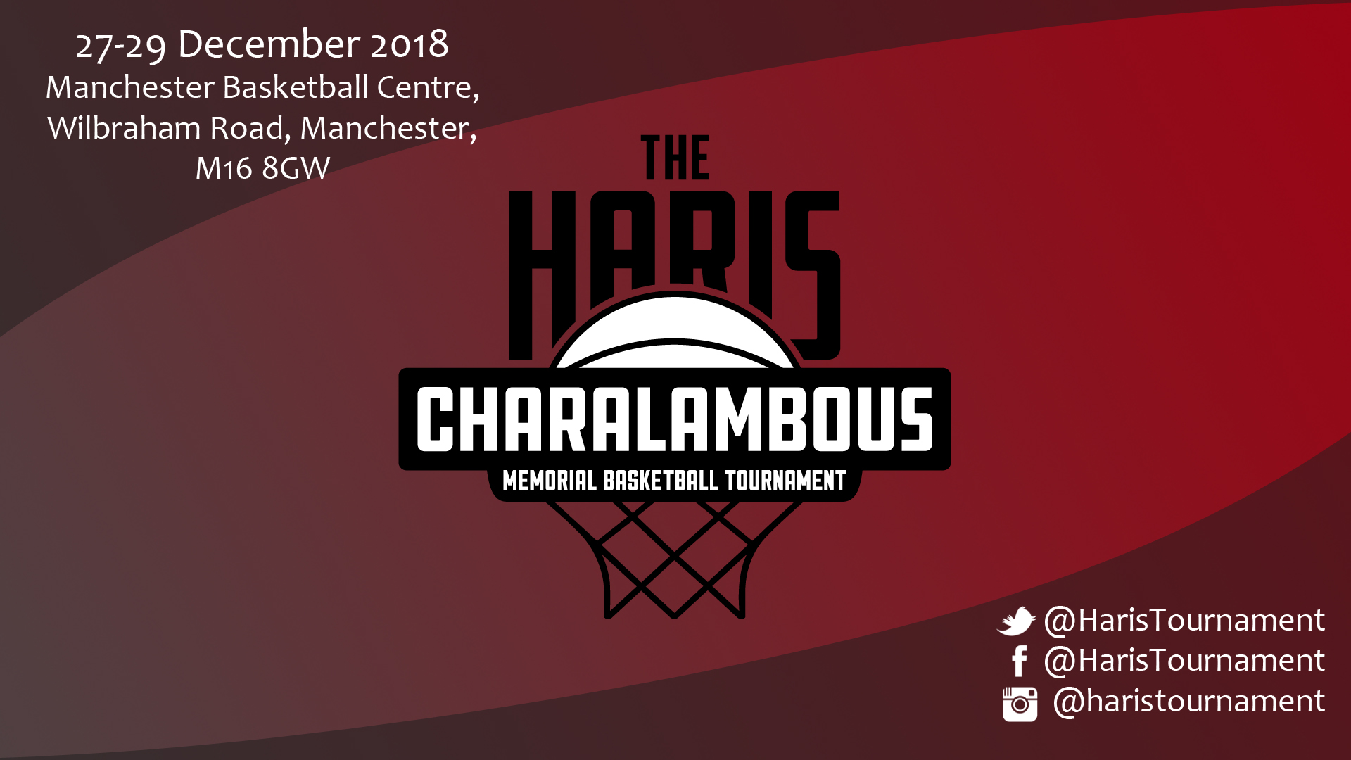 Haris Tournament 2018 27th-29th December 2018 at the Manchester Basketball Centre, Wilbraham Road, Manchester, M16 8GW