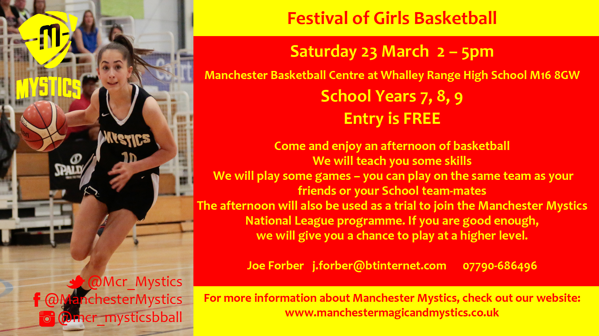 Festival of Girls Basketball Saturday 23rd March 2-5pm Manchester Basketball Centre, Whalley Range High School, M16 8GW